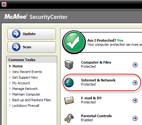 How to configure McAfee Security Center : Free Ride Games